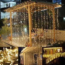 LED Window Curtain Icicle Lights, 306 LED, 3mx3m, String Fairy Light String Light for Christmas/Halloween/Wedding/Party Backdrop