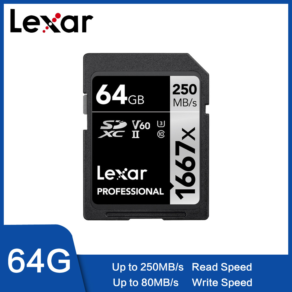 Original Lexar 250 MB/S 1667x 64 GB y tarjeta SD de 128 GB 256GB SDXC UHS-II U3 Flash tarjeta de memoria pará 3D 4 K cámara Digi