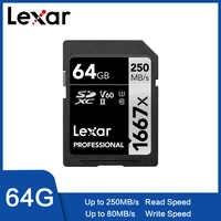 Ursprüngliche Lexar 250 MB/S 1667x tarjeta SD de 64 GB y 128 GB 256GB SDXC UHS-II U3 Flash tarjeta de memoria para 3D 4 K cámara Digi