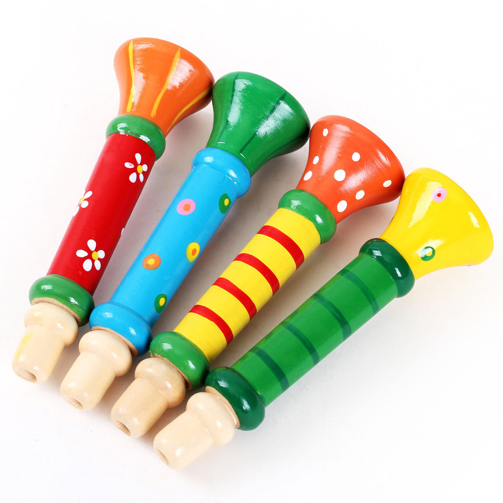 2019 New Arrival Multi-Color Baby Kids Wooden Horn Hooter Trumpet Instruments Music Toys Fun Gift Toys For Children #S20