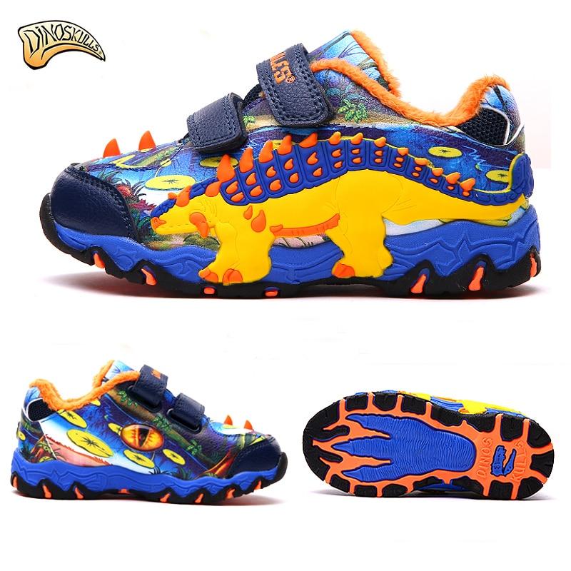 Dinoskulls Baby Boys Sneakers Toddler Boy Winter Fleece Velvet Shoes Kids Dinosaur Sports Running Sneakers Trainers 27 34