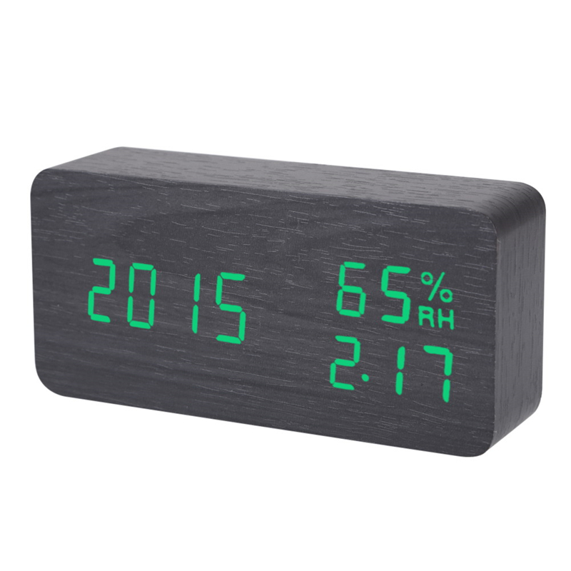 USB Power Supply Digital Black Green Voice Humidity Display Clock Creative LED Wooden Electronic Alarm Clock