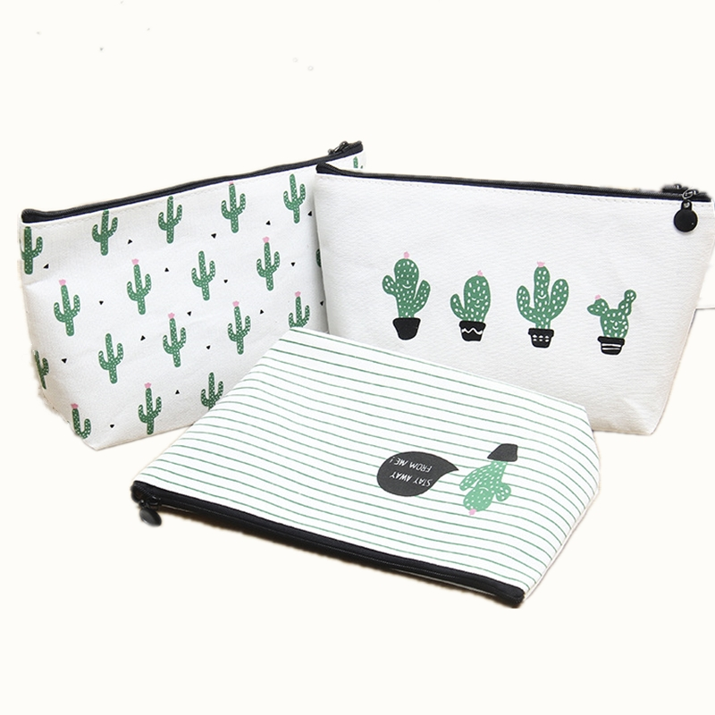 Women Cosmetic Bag Travel New 2018 Fashion  Printing Cactus Ladies Make Up Case Toiletry Wash Organizer bag