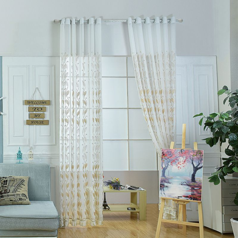 Embroidered Polyester Large Size Curtains Screens For Living Room Green Rod pocket Perforated 100X250CM H01