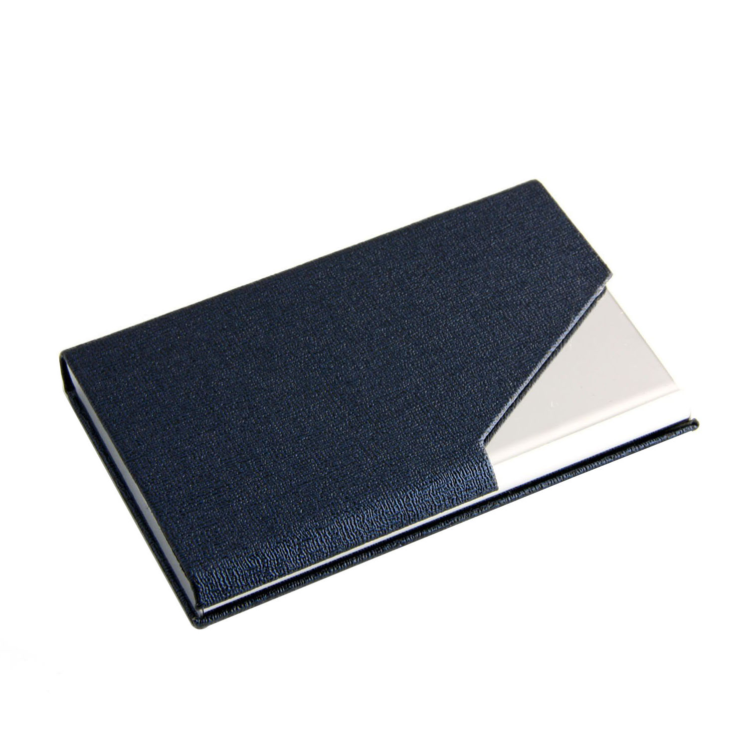 Business Name Card Holder Luxury PU Leather & Stainless Steel Multi Card Case,Wallet Credit card ID Case (Blue)