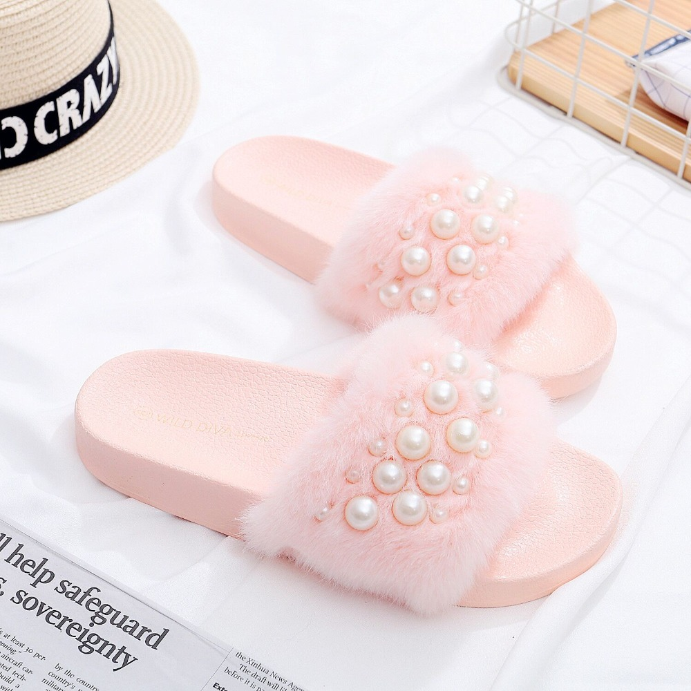 2018 New Women Fur Furry Slide Söta Pearl Thick Bottom Kvinna Flip - Damskor - Foto 3