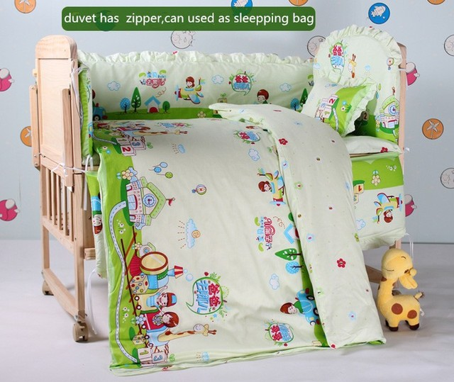 Promotion! 10PCS bedding sets crib set 100% cotton quilt jogo de cama bebe baby crib bedding set (bumper+matress+pillow+duvet)