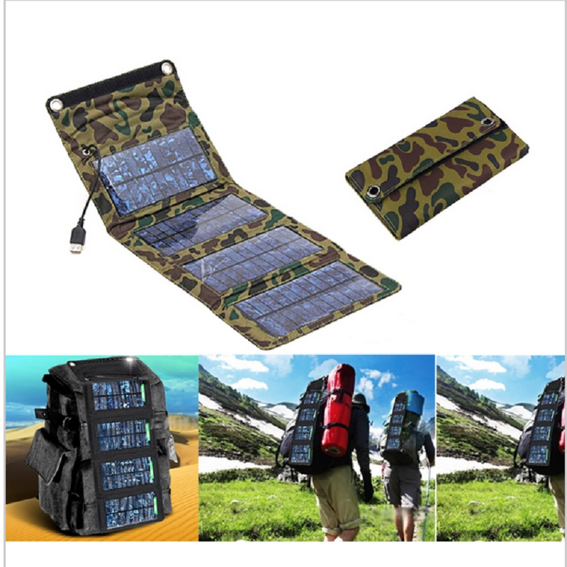 TUTUO 7W Foldable Smart USB Solar Charger Panel Source for IPhone7 8 X Hiking Camping Travel Mobile Phone Charger /Power Bank
