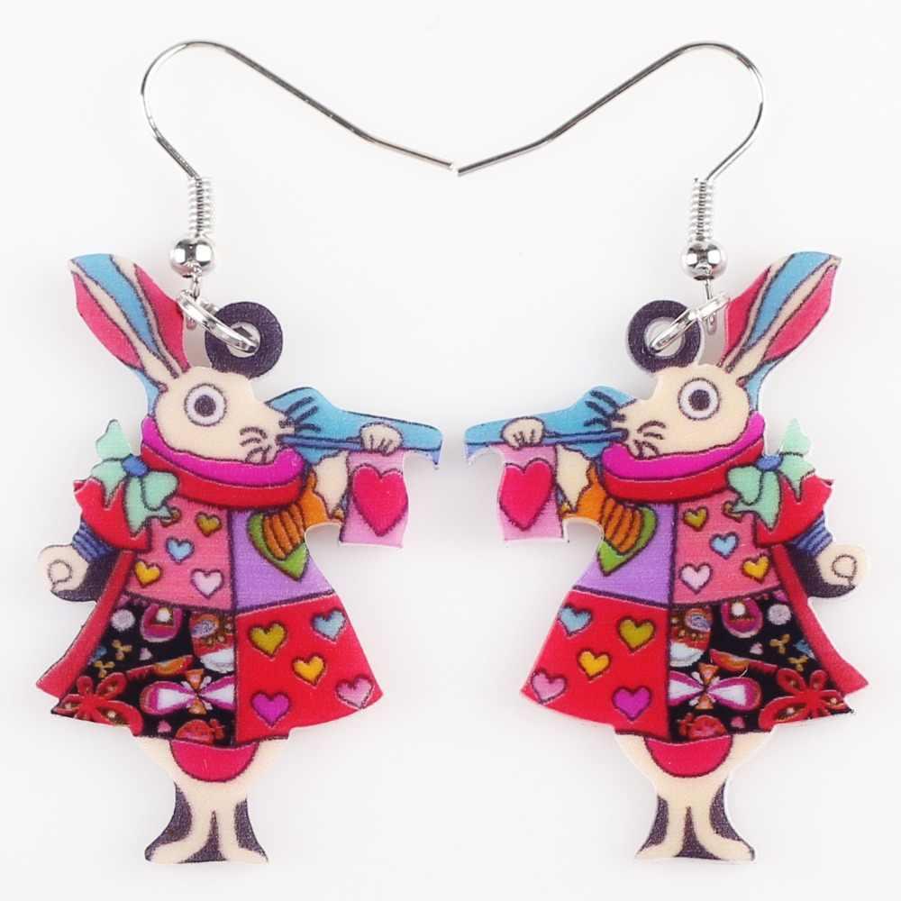 Bonsny Drop King kolczyki królik dynda duży długi akrylowy wzór kolczyk biżuteria dla kobiet 2015 nowy przyjeżdża akcesoria