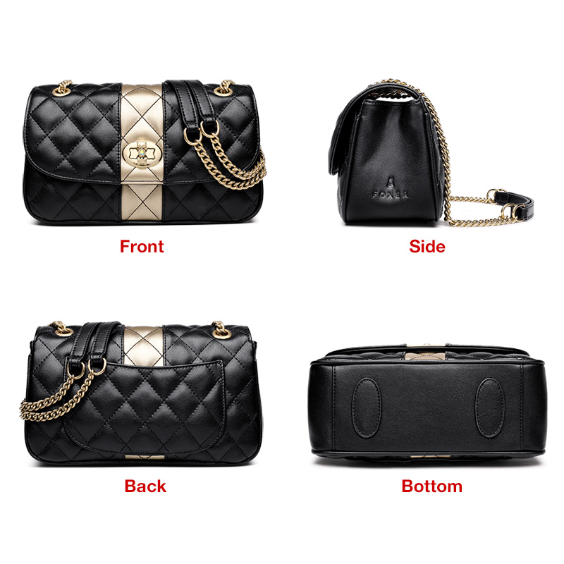 Image 4 - FOXER Women Chain Strap Messenger Bag Diamond Lattice Flap Lady High Quality Leather Ladies' Shoulder Bags Valentine's Day Gift-in Shoulder Bags from Luggage & Bags