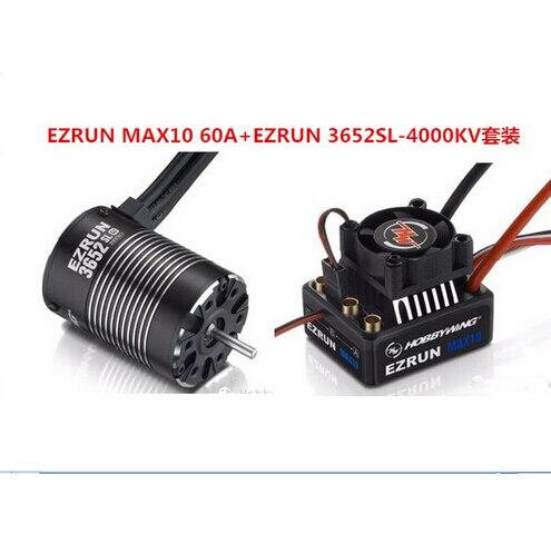 F19284 Hobbywing Combo EZRUN MAX10 60A étanche sans balai ESC + 3652SL G2 4000KV moteur régulateur de vitesse pour 1/10 RC camion/voiture