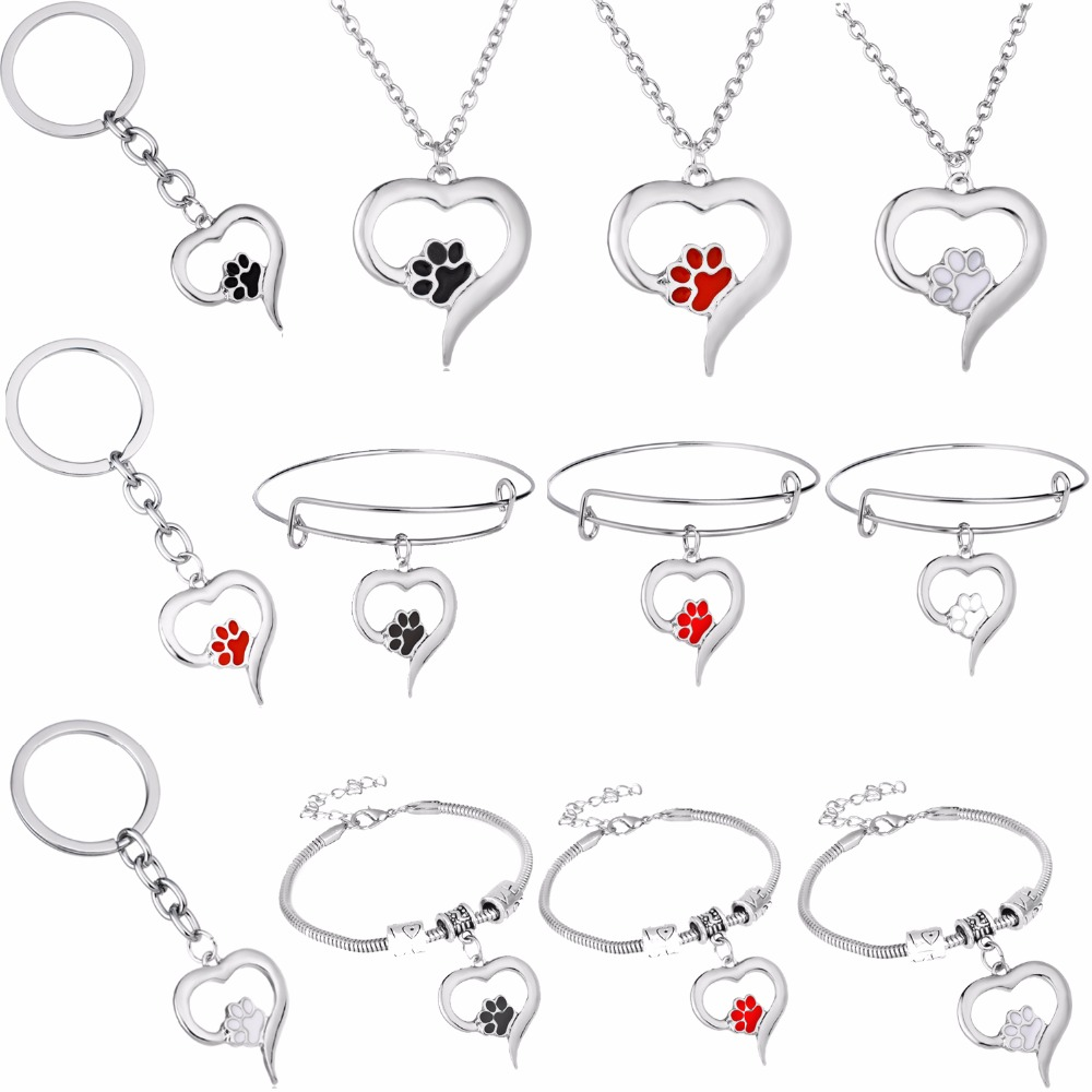 Lovely Pet Paw Claw Footprint Love Heart Charms Necklace Dog Cat Animals Lovers Bracelet Bangle Women Men Keychain Jewelry Gifts