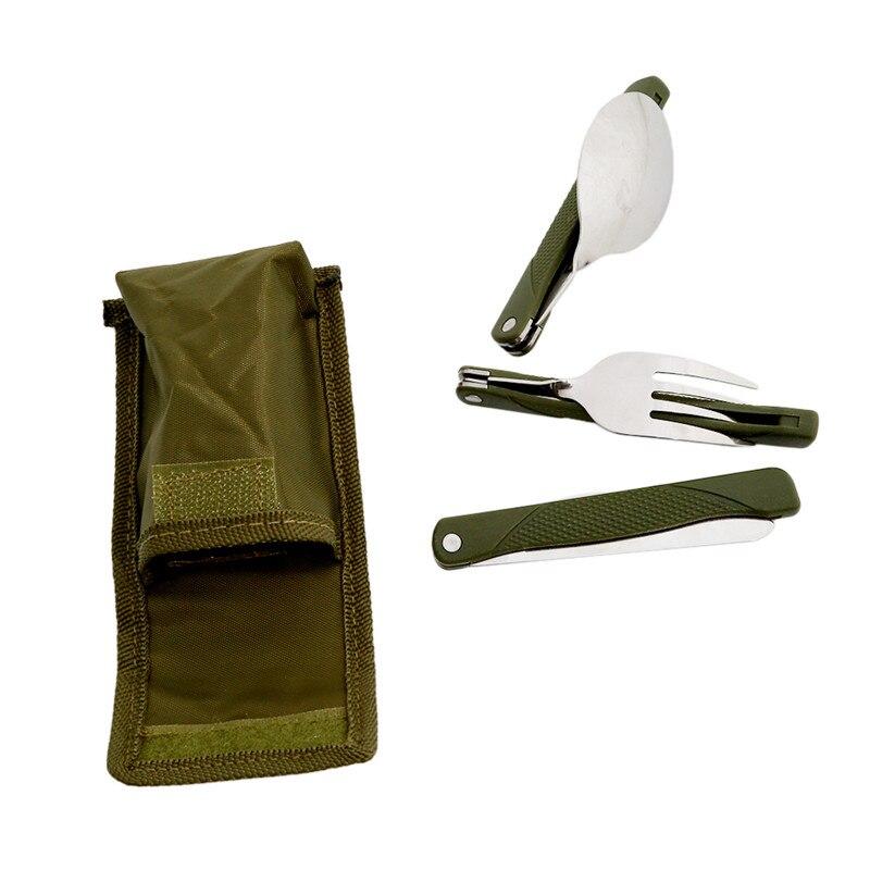 Aço inoxidável portátil dobrável conjunto de talheres garfo faca com bolsa verde do exército sobrevivência acampamento saco ao ar livre talheres recipiente