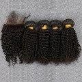 Монгольский Странный Вьющиеся Волосы Девственницы С Закрытием 4 Связки С Шелковый База Закрытие Необработанные 100% Человеческих Волос Девственницы