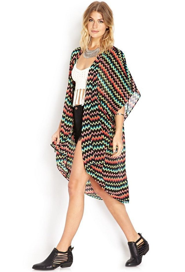 Buy New Women Fashion Wave Striped Prints Kimono Style Bat Sleeved Coats Ladies