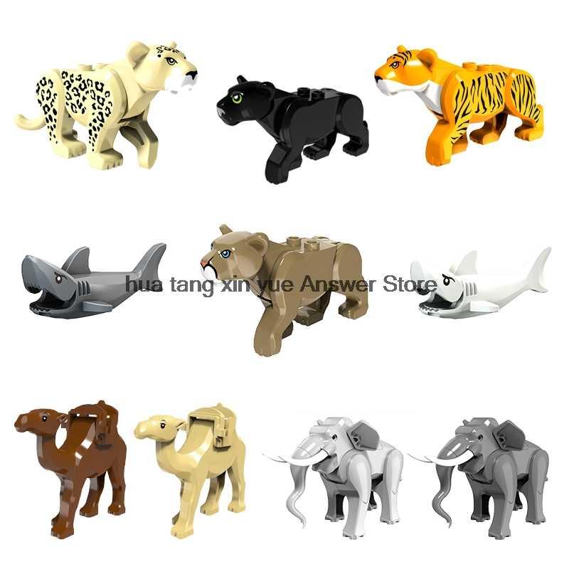 Legoing Foresta Animale jungleing mobilitazione Lion Cougar elefante cammello squalo tigre Lupo parti di Blocchi di Costruzione Giocattoli Del Capretto Legoings