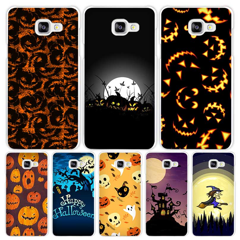 Happy Halloween Hard White Coque Shell Case Cover Phone Cases for Samsung Galaxy A3 A5 A7 2016 2017 A8 A9