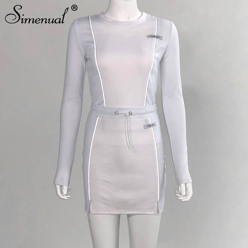 Simenual Casual Fashion Reflective Striped Two Piece Outfits Women Long Sleeve Top And Mini Skirt Sets 19 Autumn White Set New 7