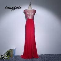 Sexy Red A Line Evening Dresses Illusion Back Evening Party Prom Gown Custom made vestido de festa Chiffon Formal Evening Dress