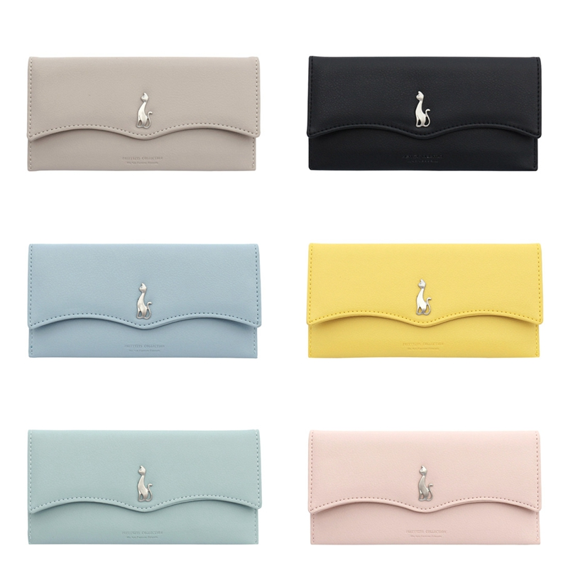 Womens Wallets Solid Cute Purses Long Multi-Functional Fold Hasp Walets Money Bag Purses Cards Slots and Cash Slots Carteira