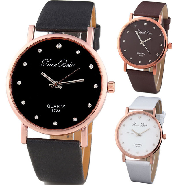 Fashion Style Women's Diamond Case Leatheroid Band Round Dial Quartz Wrist Watch