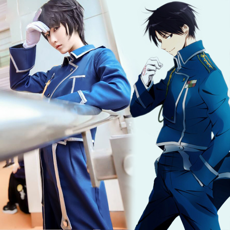Anime FullMetal Alchemist Roy Mustang Cosplay Costume Men Clothing Halloween Carnival Outfit Custom Made Top Jacket Pants Gloves AG2R La Mondiale 2019