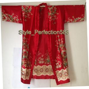 Frete Grátis Venda Quente de lady Seda Rayon Kimono Hand-Made Pintado Kaftan Robe Vestido Flor NS04