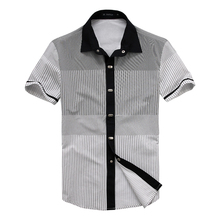 ДИ MOONLY мужская марка рубашки с коротким рукавом stripes кнопка вниз причинно рубашка мужчины бизнес рубашки для мужчин 100% хлопок(China (Mainland))