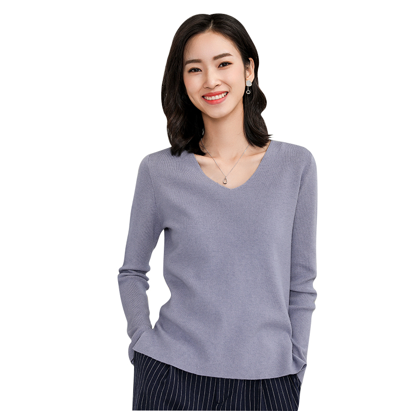 2019 New Arrival Autumn Winter Cashmere Sweater Fashion Female Wool V-neck Pullover Paragraph Bottoming Knitting Higt Quality