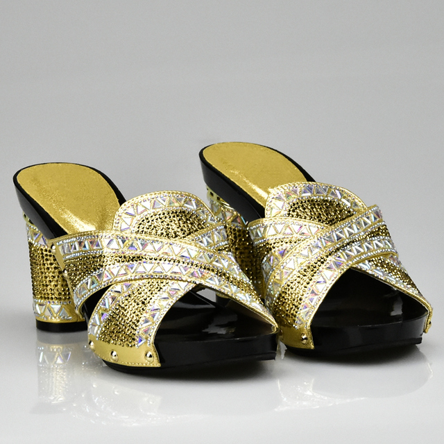 Gold Color Shoes African Wedding High Quality Fashion Elegant Italian Women Shoe With Stone