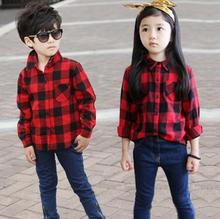 spring 2016 children girls blouse boys shirt plaid shirts blouse for girls boys with full long sleeve plaid shirts kids retail