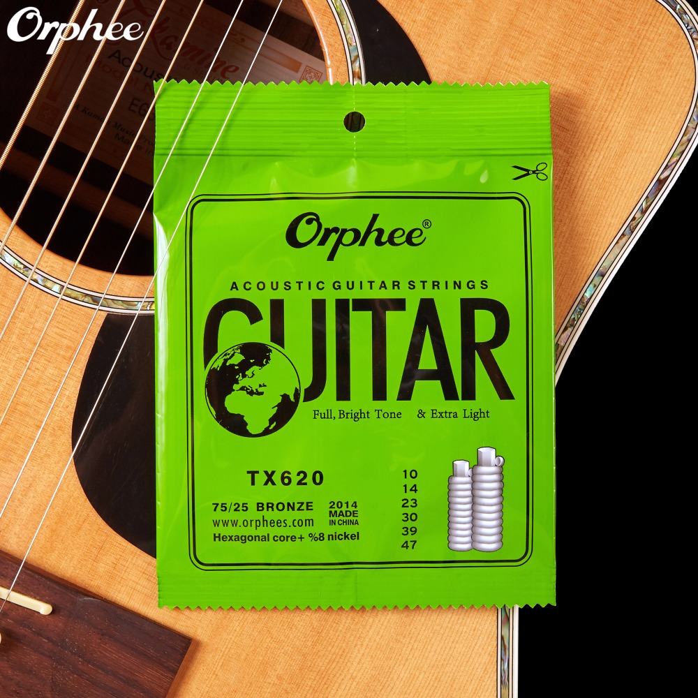 010 047 Inch Acoustic Guitar Strings Extra Light High-carbon Steel Hexagonal Alloy Orphee TX620 3 sets alice aw466 light acoustic guitar strings plated high carbon steel