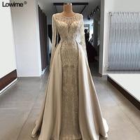 Muslim Long Sleeves Mother of the Bride Dresses With Detachable Tail Heavy Beading Vestido De Madrinha Mermaid Scoop Dress Bride