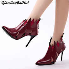 Sexy Flame Shoes Women Point Toed Ankle Boots Spring 2019 Sale Stiletto Heels Hollow Out Short Booties Spain Woman Pumps