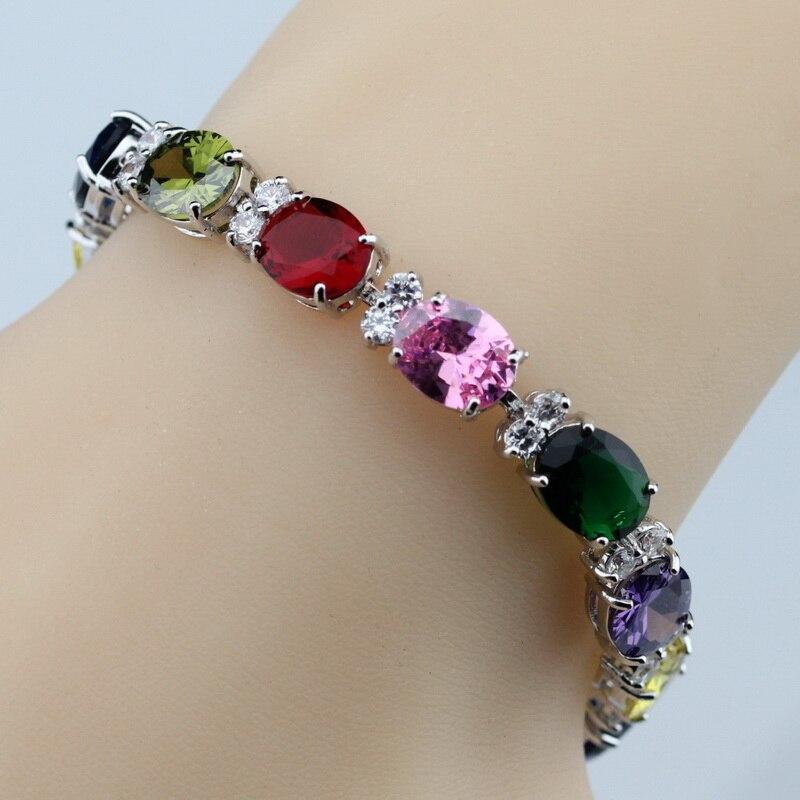Prix pour 925 Sterling Argent Coloré Multi-Coloré Gemmes Bracelet de Santé De Mode Bijoux Pour Femmes Bijoux Free Box SL120