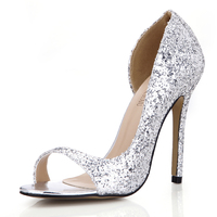 CHMILE CHAU Gold Glitter Sexy Wedding Party Women's Shoes Peep Toe Stiletto High Heel Pumps Big Sizes Zapatos Mujer 0640C Q2