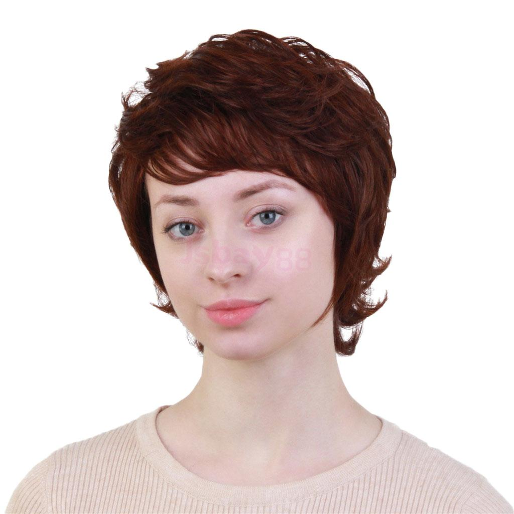 Chic Short Wigs For Elegant Women Real Human Hair & Bangs Fluffy Layered Wig Dark Brown for Cosplay Party Dress stylish short capless side bang synthetic fluffy brown highlight curly bump wig for women