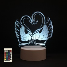 3D LED Night Lights Swan 7 Colors Change Touch Switch Hologram Atmosphere Novelty Lamp for Home Decoration Visual Illusion Gift цена