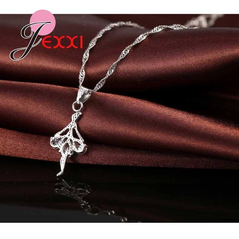 Elegante 925 prata esterlina bailarina colar brincos conjunto com cristal brilhante feminino meninas casamento noivado conjunto de jóias