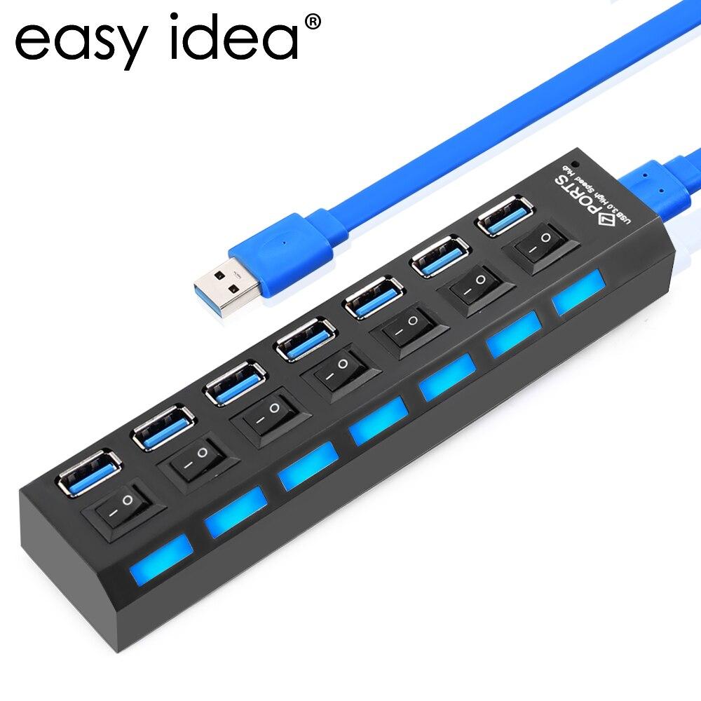 Nopea USB 3.0 Hub 7 porttia 5 Gbps USB HUB Splitter Hub USB 3.0 päälle / pois-kytkinadapterin kaapelijakaja PC-työpöydän muistikirjaan