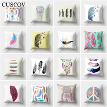 CUSCOV new colorful feather polyester sofa cushion cover simple oil color wedding decoration home pillowcase chair pillow