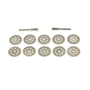 Image 2 - 10 teile/satz 22/30mm Mini Diamant Sägeblatt Silber Trennscheiben mit 2X Anschluss Schaft für Dremel Bohrer fit Dreh Werkzeug