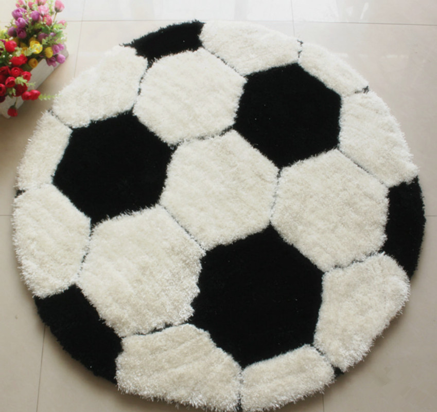 High Quality High Quality Football Round Carpet Diameter 100CM Parlor Living Room Mats  Children Kids Boys Bedroom Carpet
