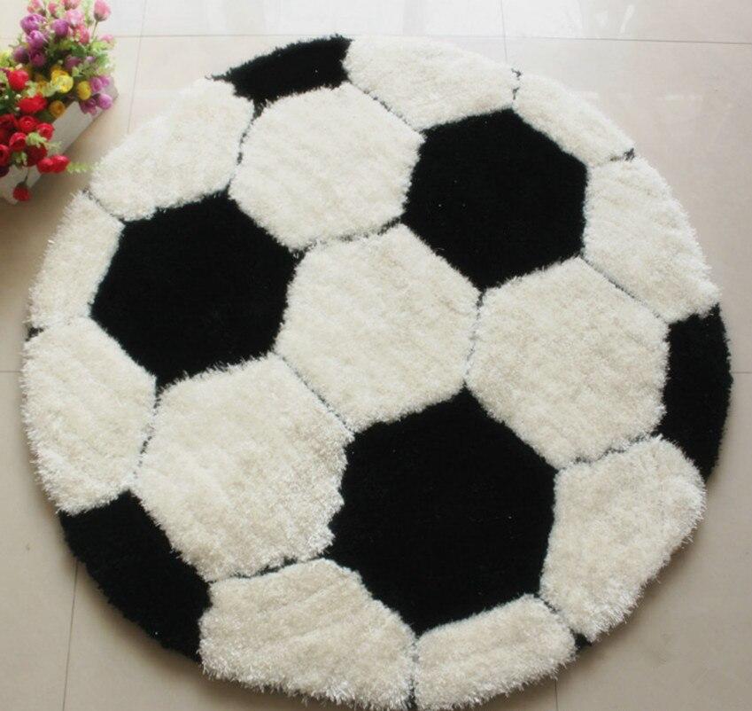 Shaggy Football Rug: High Quality Football Round Shaggy Carpet Diameter 100CM