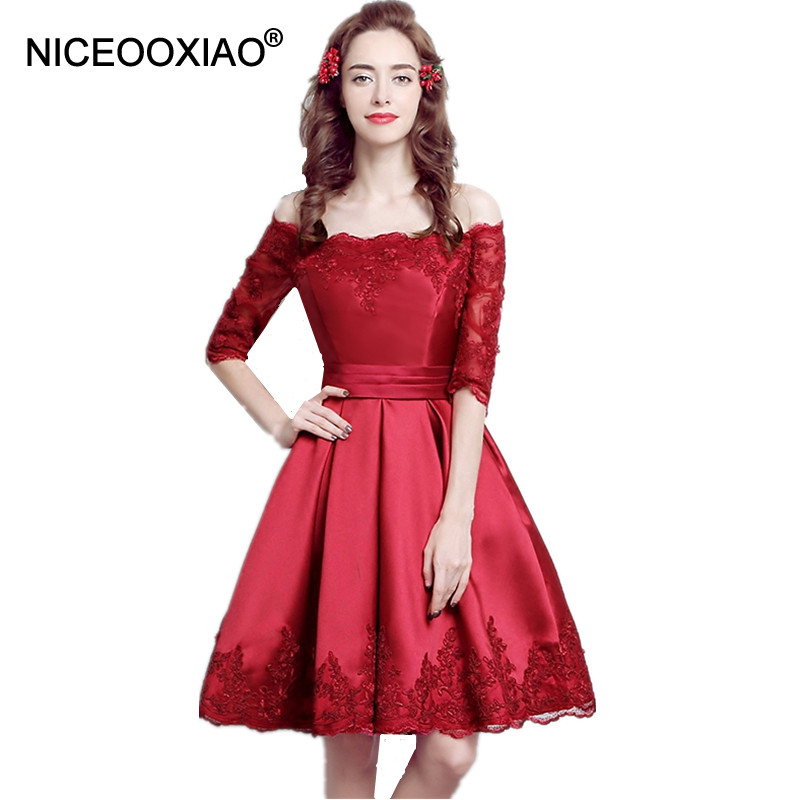 NICEOOXIAO Boat Neck Cap Sleeve Short Evening Dress Party Ball Gown Lace Embroidery Long Lace Up
