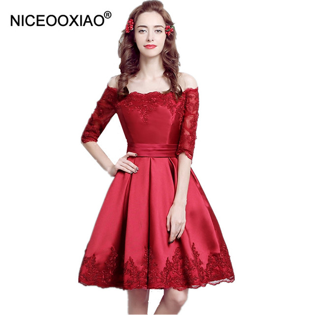 0b07345feca NICEOOXIAO Dress Boat Neck Cap Sleeve Short Evening Dress Party Ball Gown  Lace Dress Embroidery Long Lace Up Formal Dress LF91