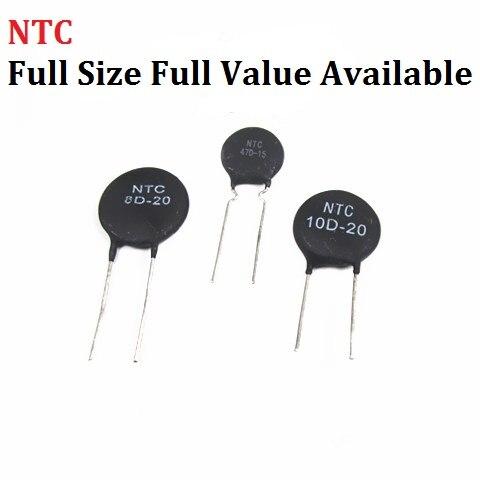 10pcs Thermistor NTC 2.5D 3D 5D-7 5D-9 5D-11 5D-15 5D-20 8D-20 10D-9 10D-11 10D-13 10D-15 10D-20 10D-25 47D-15 Thermal Resistor