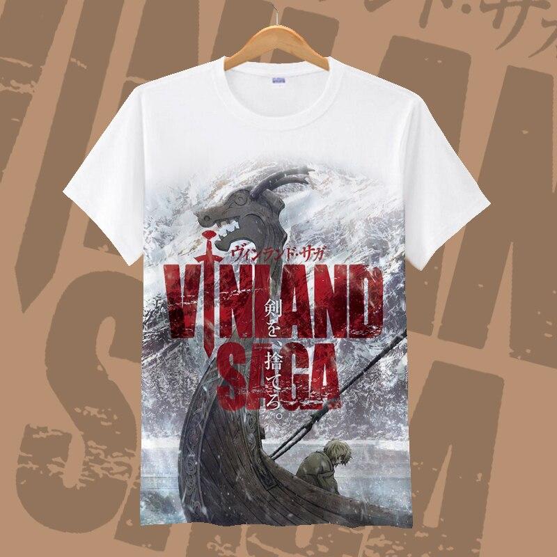 New VINLAND SAGA Thorfinn Cosplay T-shirt Fashion Askeladd Anime T-Shirt Cotton Short Sleeve Tops Tee