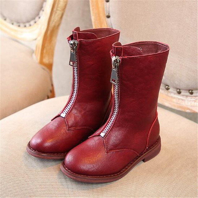 New Children Shoes Genuine Leather Boots Girls High Martin boots Princess Baby  British style Student Kids Single Boots 02A 9cceeb5a1100