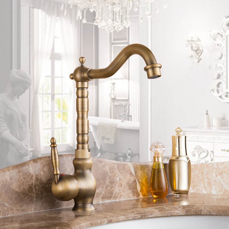 New Arrivel Single Handle Bathroom Faucet Basin crane tap Antique Brass Hot and Cold Water tap 360 degree rotatingNew Arrivel Single Handle Bathroom Faucet Basin crane tap Antique Brass Hot and Cold Water tap 360 degree rotating